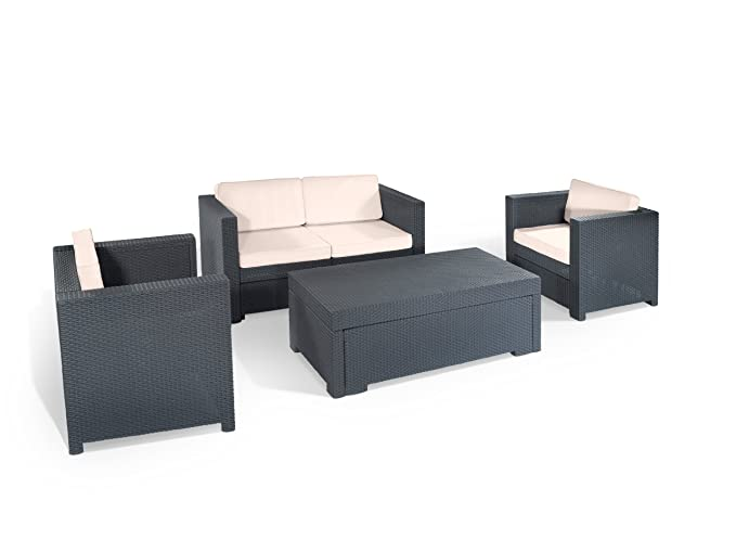 Amazon.de: Keter 17189415 Lounge Set Riviera Set, Rattanoptik ...