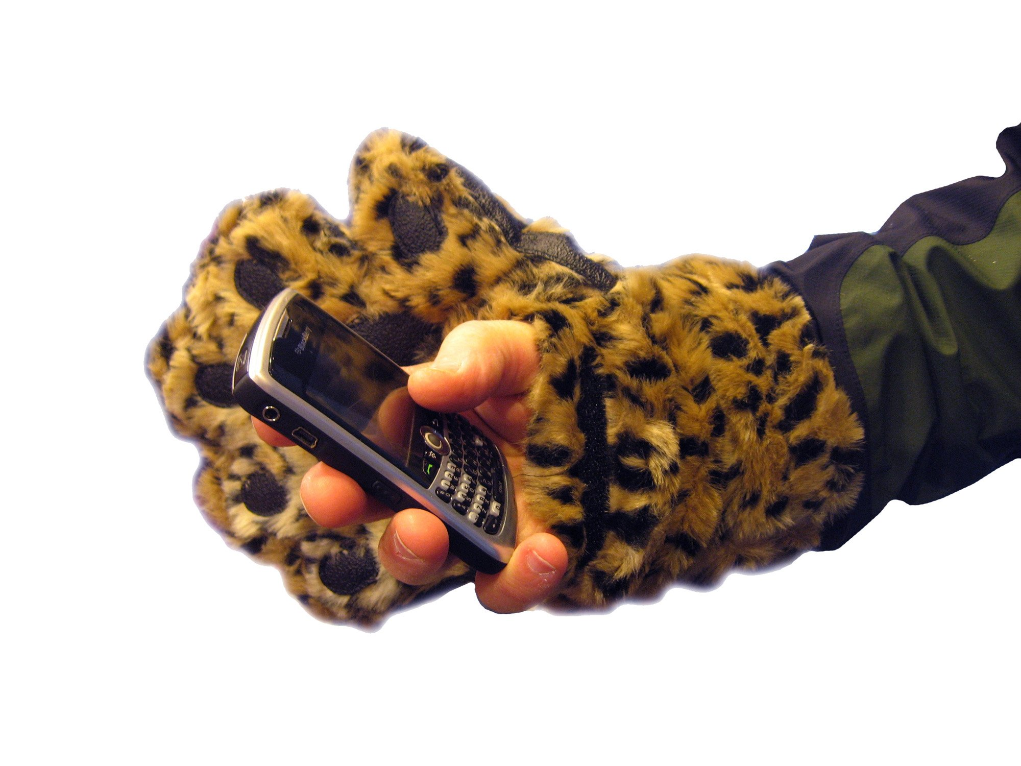 BearHands Sumptuous Faux Fur Mittens - with handy flap opening for when fingers are needed! (Adult Large) - Leopard