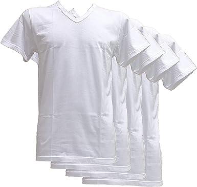 Fontana - 4 camisetas de manga corta con cuello en V de jersey de puro algodón, comodidad y frescura en la piel: Amazon.es: Ropa y accesorios