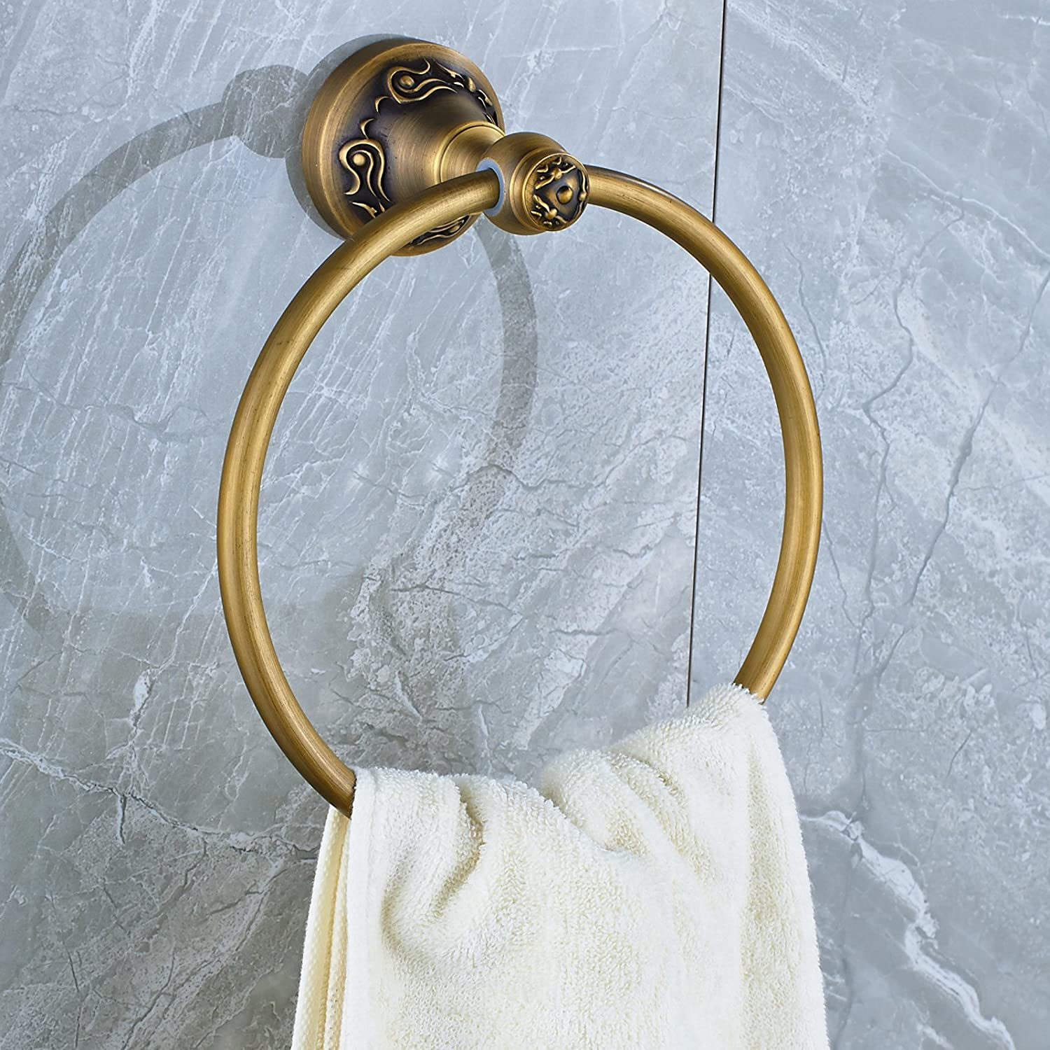 Senlesen Oil Rubbed Bronze Round Bath Towel Ring Bathroom Towel Rack ...