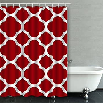 Accrocn Classic Modern Vintage Chic Moroccan Quatrefoil Cranberry Red And White Pattern 54x72 Inches Waterproof Shower