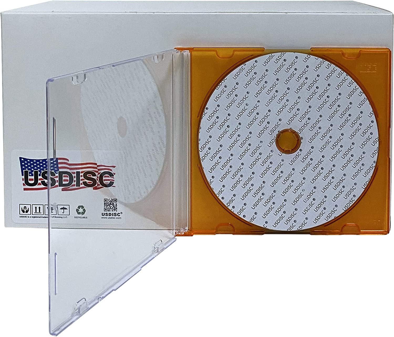 USDISC CD Jewel Cases Slimline 5.2mm Clear Orange Single 1 Disc Pack of 10