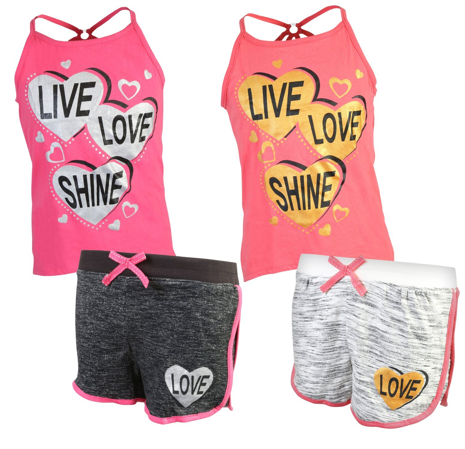 Real Love Girl's 4-Piece French Terry Short Sets, Live Love Shine, Size 5/6'