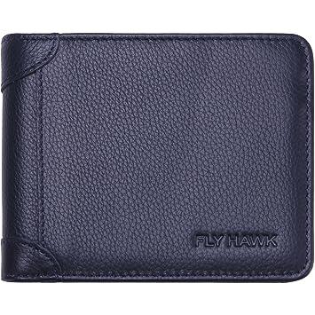 07f86a7b1e1049 FlyHawk Herren Geldbörse aus Echtem Leder mit RFID-Blockierung Schutz Blau  Geldtasche Geldbeutel Portemonnaie