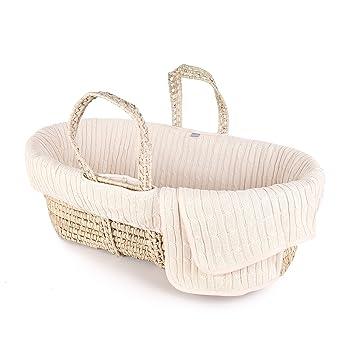 Tadpoles Minky Dot Moses Basket and Bedding Set Natural
