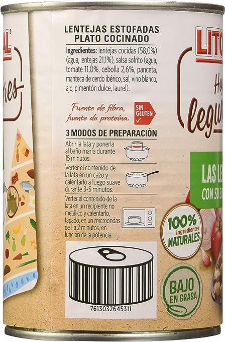 Litoral - Lentejas de la Abuela -Pack de 15 x 440 g: Amazon ...