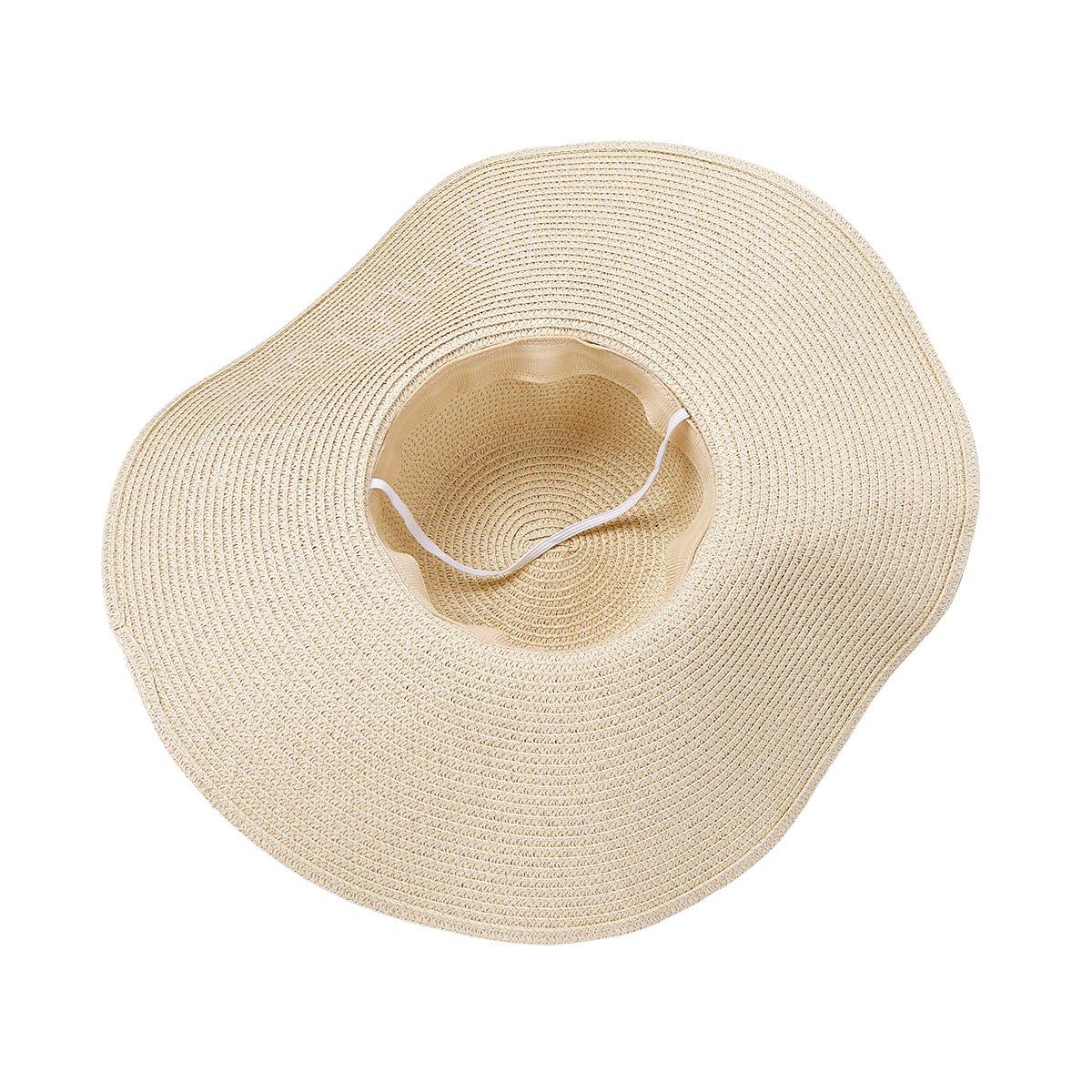 a1e76255467 iiniim Women Grils Beach Sun Hat Floppy Summer Cap Straw Foldable Wide Brim  Hat Beige One Size at Amazon Women s Clothing store