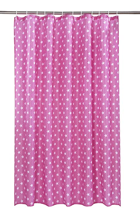 Vibrant Hollywood Pink With White Stars Polyester Shower Curtain Including 12 Rings By