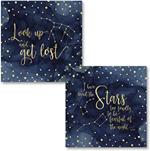 Inspirational Blue and White Night Sky 'I Have Loved The Stars Too Fondly To Be Afraid of the Night' & 'Look Up and Get Lost' Constellation Bedroom Dorm Nursery Art Set; 2-12x12