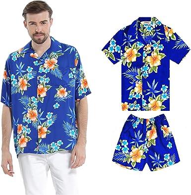 Juego Hawaiano Traje de Luau Camisa de Hombre Camisa de niño en Hibisco Azul: Amazon.es: Ropa y accesorios