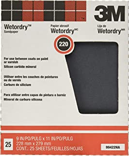 3M Pro-Pak Wetordry Sanding Sheets, 220A-Grit, 9-Inch by