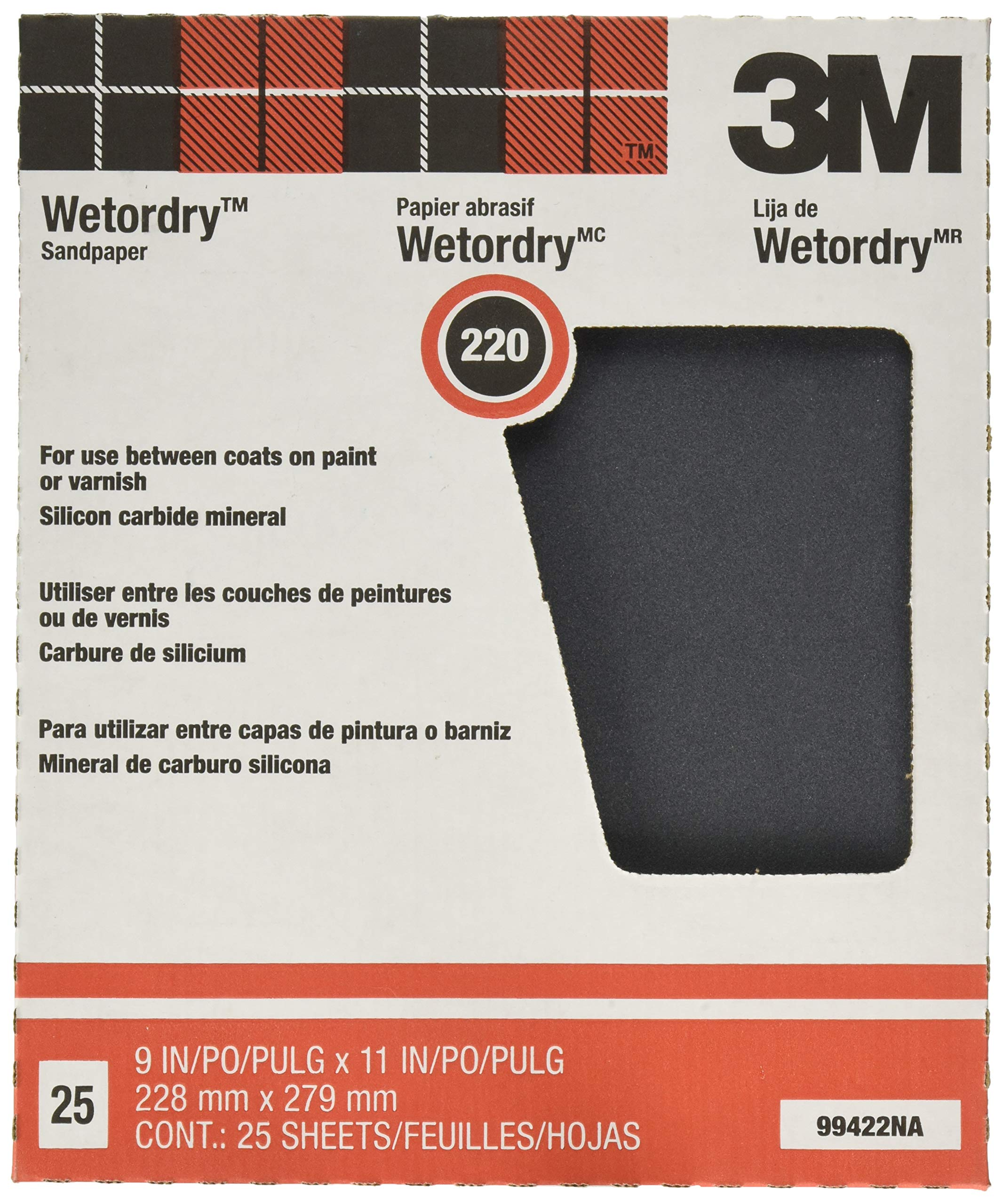 3M Pro-Pak Wetordry Sanding Sheets, 220A-Grit, 9-Inch by 11-Inch,1 Pack of 25 by 3M