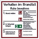 Schild Aushang Verhalten im Brandfall Kunststoff 18 x 18 cm (Verhaltensregeln, Brandschutz Feuer / Notfall) wetterfest
