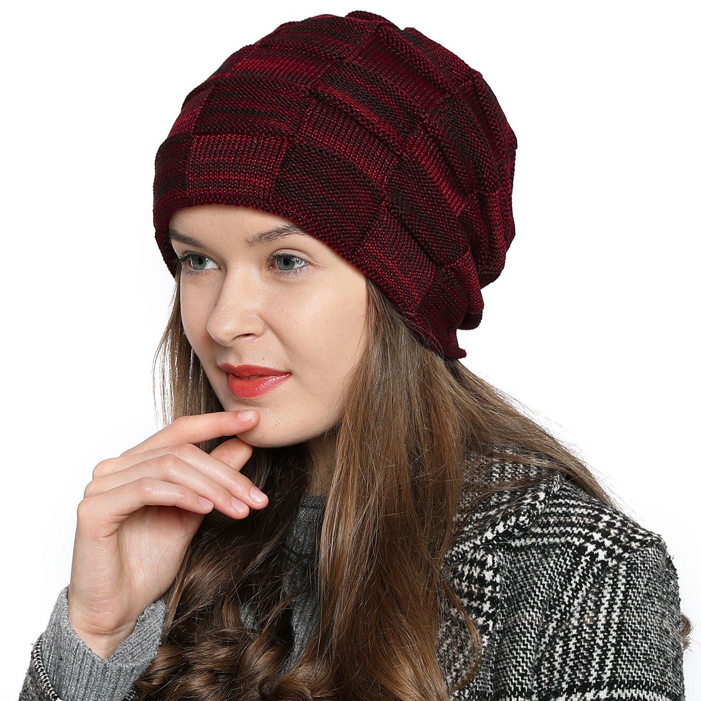 DonDon Mujer Caliente Gorro de Invierno Gorro diseño Flexible Gorro de Punto  Moderno con Forro Interior 116b03a96dc