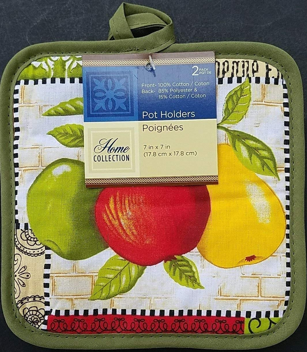 Kitchen Two Apples & Pear Theme Linen & Placemats, Select: Items (Pot Holders 2/Pk)