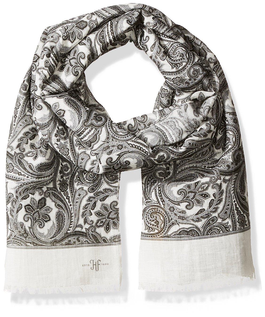 Hickey Freeman Men's Italian Wool Silk Jacquard Paisley Scarf, White, One Size