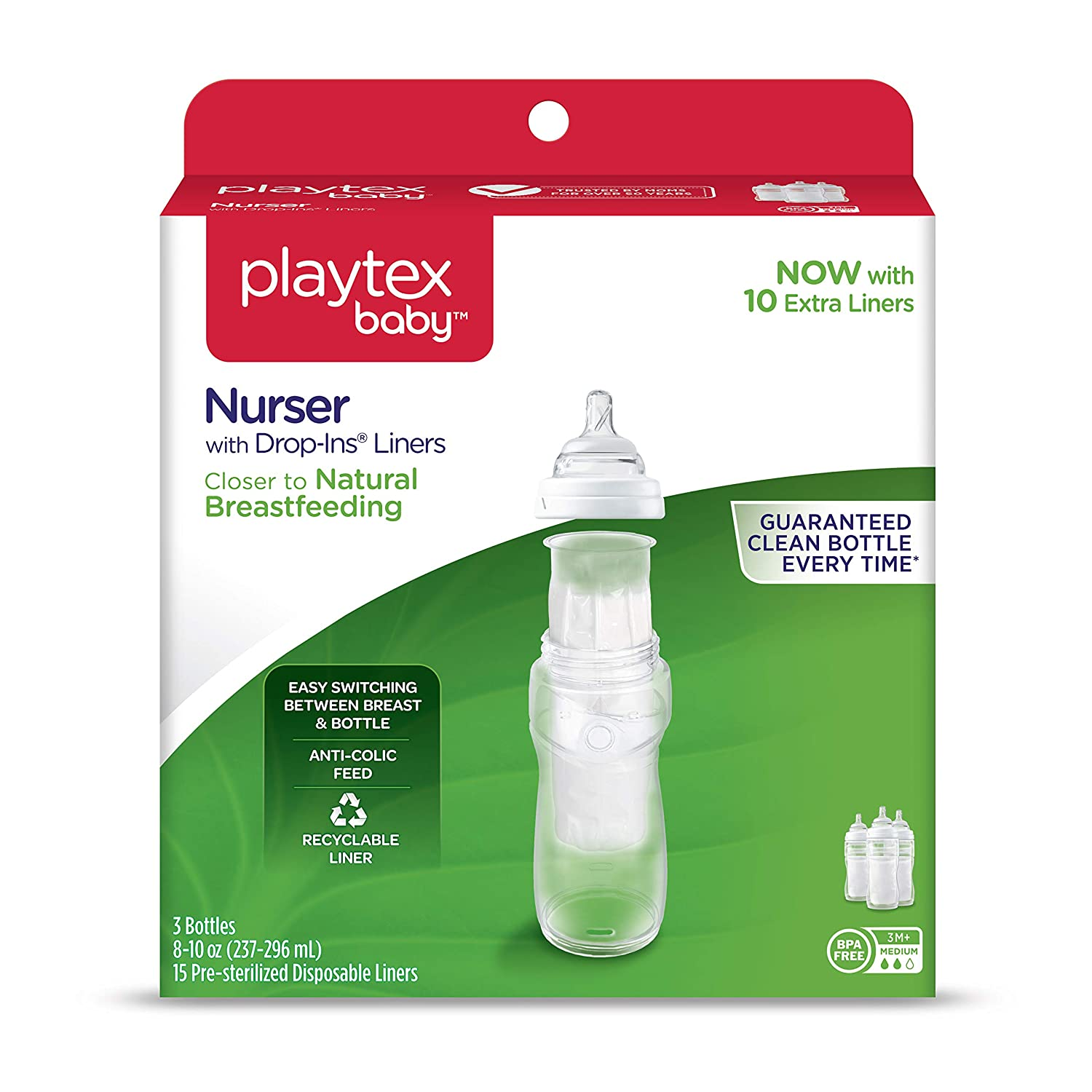 Playtex Baby Nurser Baby Bottle with Drop-Ins Disposable Liners, Closer to Breastfeeding, Gift Set 0597000