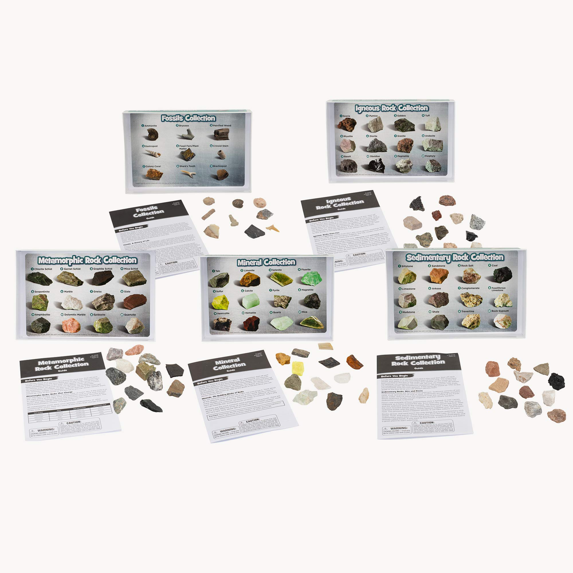 Educational Insights Complete Rock, Mineral, and Fossil Collection, Ages 8 and up, (57 pieces with storage tray)