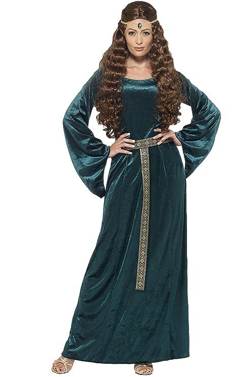 SmiffyS 45497L Disfraz De Doncella Medieval Con Vestido Y Diadema, Verde, L - Eu
