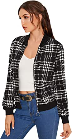 Floerns Women's Casual Plaid Print Zipper Up Long Sleeve Bomber Jacket