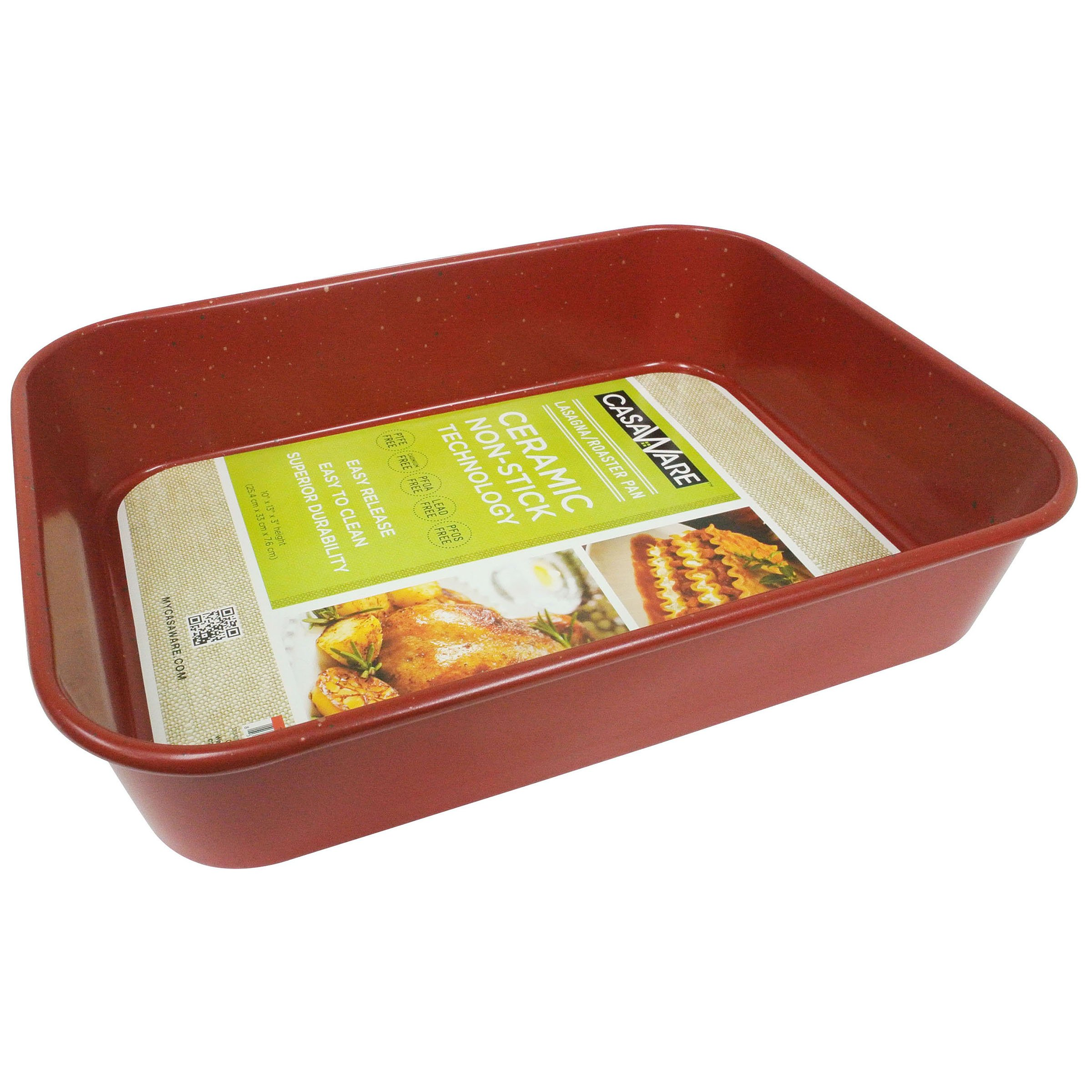 casaWare Ceramic Coated NonStick Lasagna/Roaster Pan 13 x 10 x 3-Inch (Red Granite) by casaWare