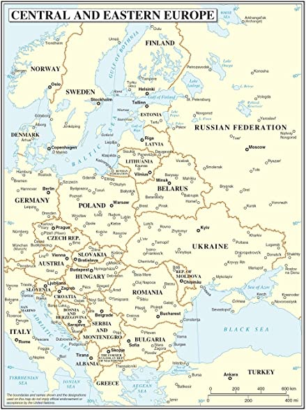 Amazoncom LAMINATED X Poster Central And Eastern Europe Map - Map of eastern europe