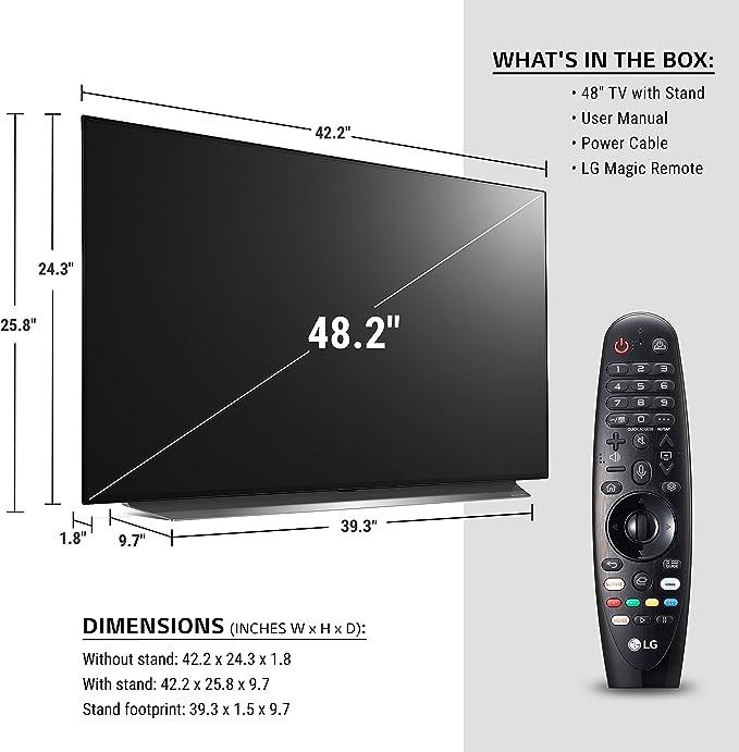 LG OLED48CXPUB Alexa Built-in CX 48 4K Smart OLED TV 2020 w// PL7 XBOOM Go Water-Resistant Wireless Bluetooth Party Speaker