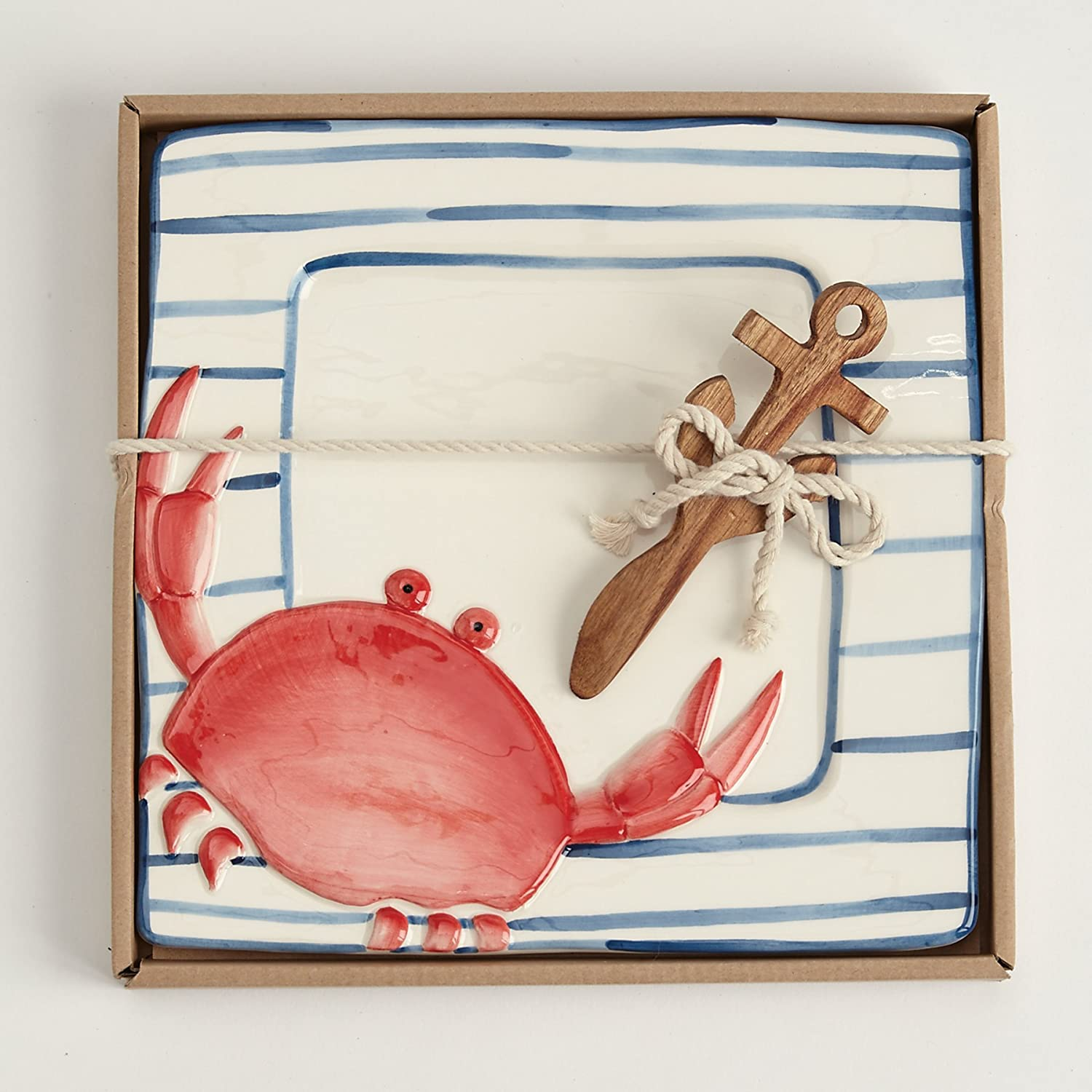 Christmas Tablescape Décor - Mud Pie hand-painted red crab ceramic cheese plate serving set with wooden carved anchor handle spreader