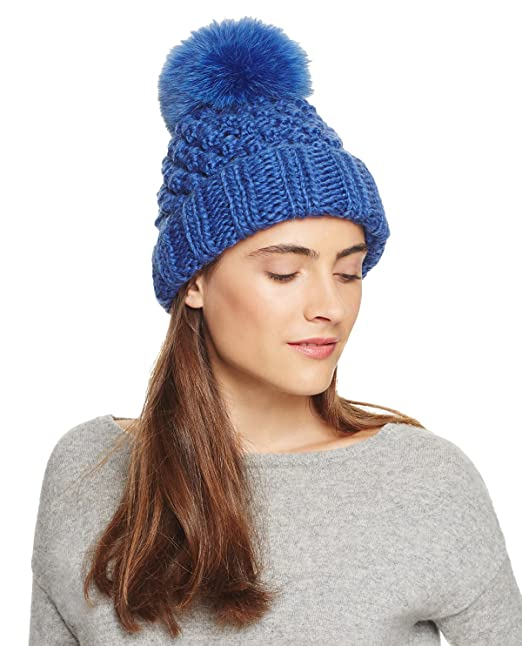 bcaee43dd6f4a Kyi Kyi Canada Women s Fox-Fur Pom-Pom Basic Knitted Beanie Cap ...
