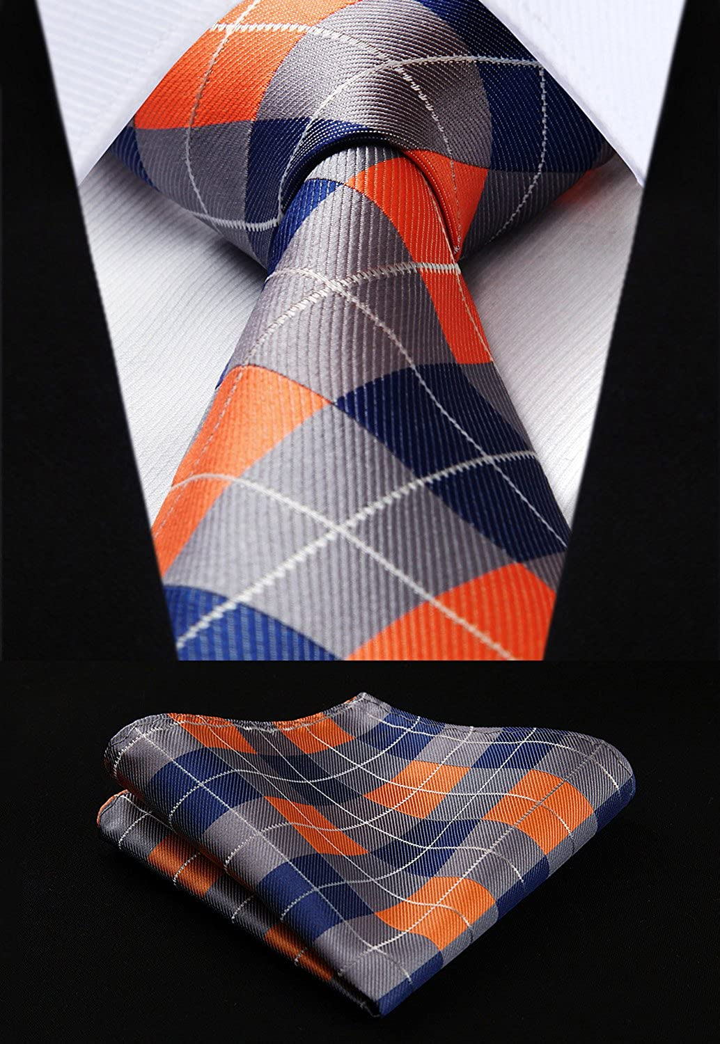 HISDERN Extra Long Check Tie Handkerchief Men's Necktie & Pocket Square Set
