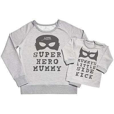 SR - Super Hero Mummy & Mummy's Little Side Kick Women's Sweater - Mummy Gift - Gift for Mum & Baby Sweater Gift Set