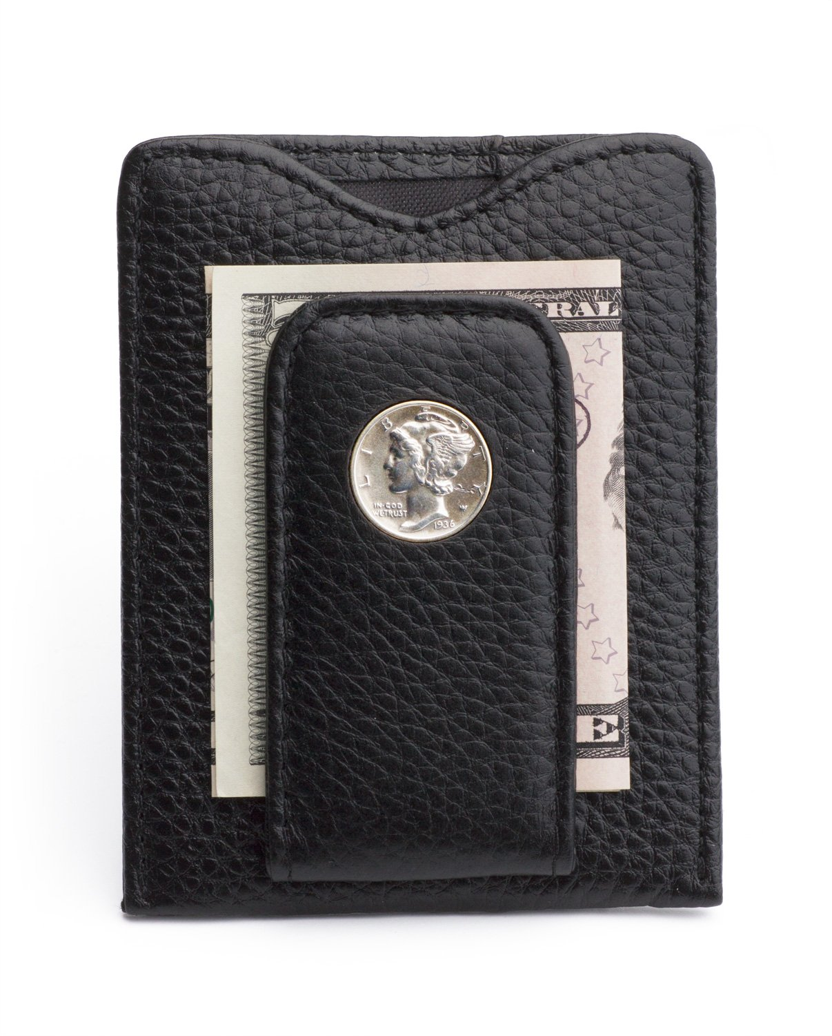 Tokens & Icons Mercury Dime Money Clip Wallet - Black (80M-BLK)