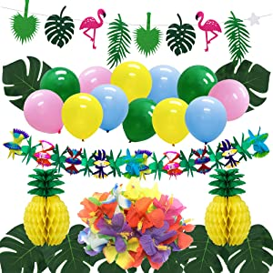 Hawaiian Pineapple Party Decorations, Luau Party Supplies Tropical Flamingo Palm Leaves Banner Hibiscus Flowers Pineapple Honeycomb Balls for Birthday Summer Beach Pool Party Home Decor