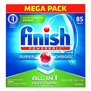 FINISH 89729CT Powerball Dishwasher Tabs, Fresh Scent, Box of 85 (Case of 4 Boxes).