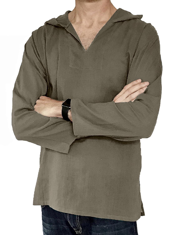 Love Quality Men's Hoodie Hippie Shirts Beach 100% Soft Cotton Top Yoga Shirt Boho