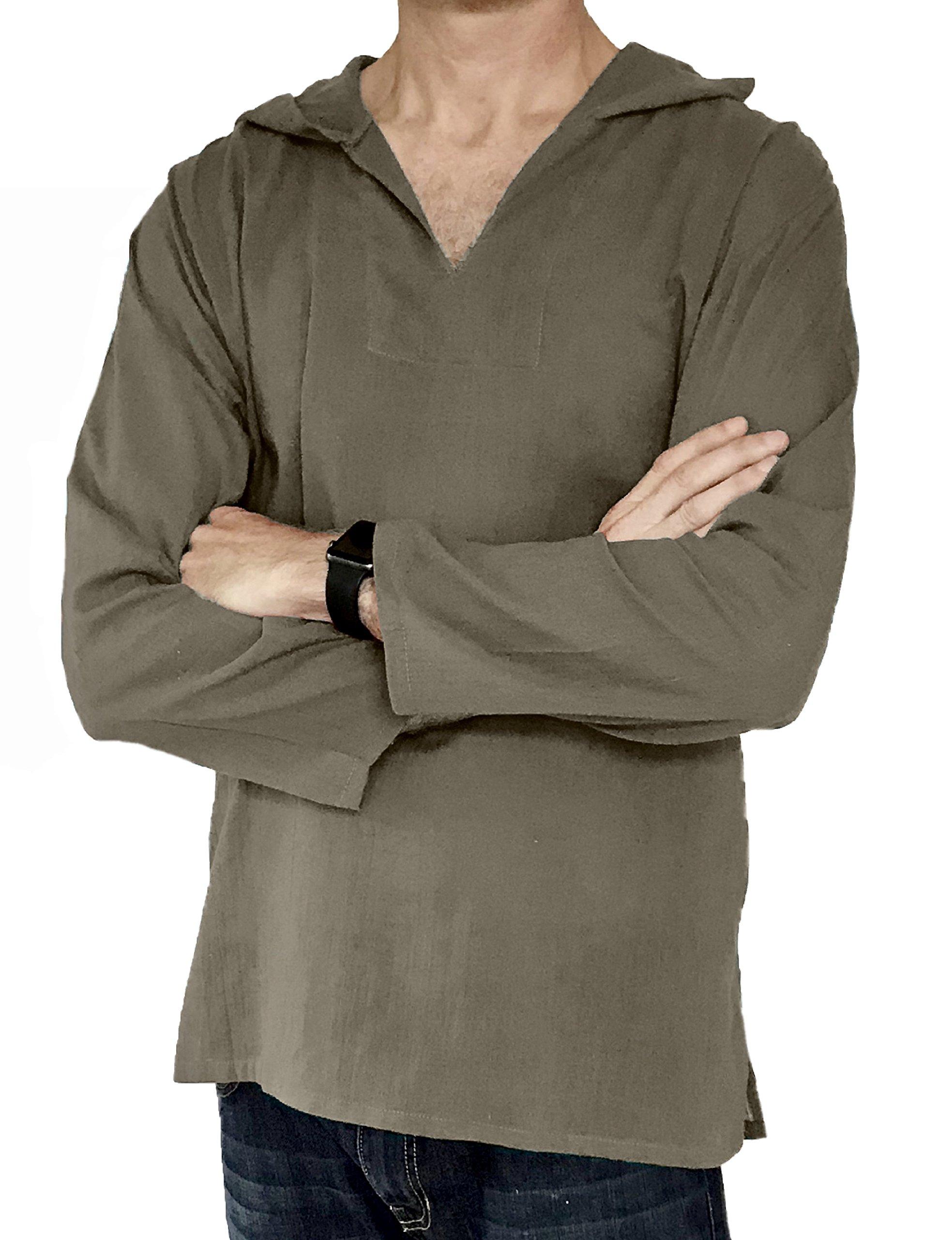 Love Quality Men's Hoodie Hippie Shirts Beach 100% Soft Cotton Top Yoga Shirt Boho (Large, Brown)