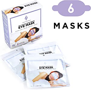 Juve Naturals Premium Self-Heating Steam Eye Mask for Dry Eyes, Eye Fatigue, 6 Masks, Natural Sleep Aid, Anti-Dark Circles, Fine Lines, Crow's Feet, Jet Lag, Insomnia (Lavender Aromatherapy)