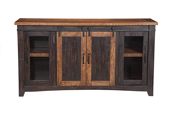 Martin Svensson Home 90905 Santa Fe TV Stand, Antique Black and Aged Distressed Pine