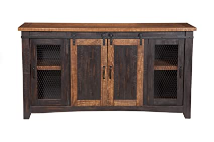 Martin Svensson Home Santa Fe 65u0026quot; TV Stand, Antique Black And Aged  Distressed Pine