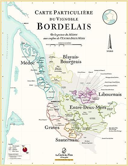 carte des vins bordeaux La Carte des Vins s'il vous plaît Map of Bordeaux Wine   70 x 100