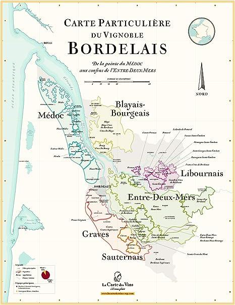 Carte Des Vins De Bordeaux 70 X 100 Cm Amazon Fr Cuisine Maison