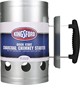 Kingsford Grilling BB0466 Deluxe Charcoal BBQ Chimney Starter, Grill, Silver