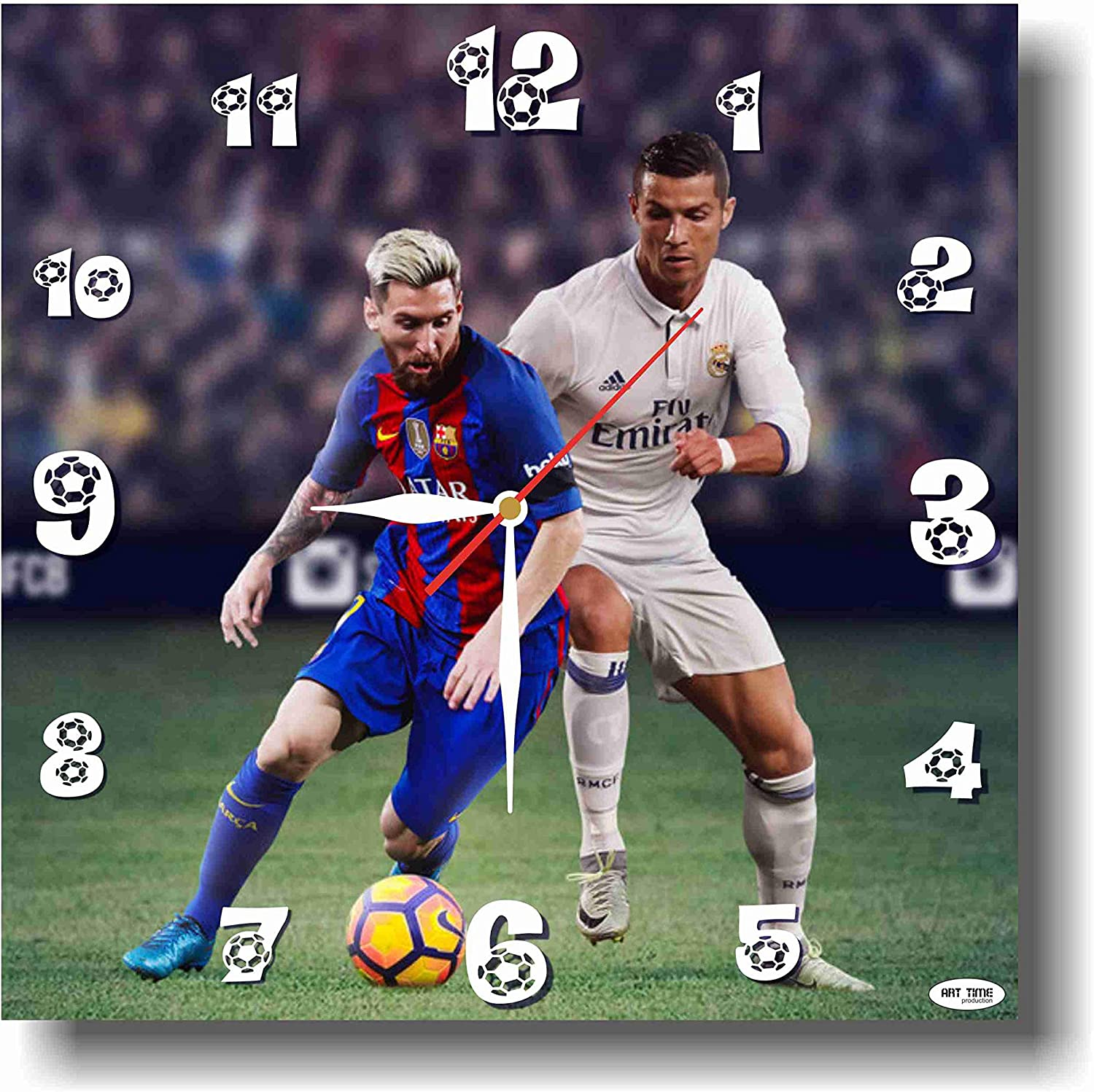 Art time production Lionel Messi&Cristiano Ronaldo 11'' Handmade Wall Clock - Get Unique décor for Home or Office – Best Gift Ideas for Kids, Friends, Parents and Your Soul Mates