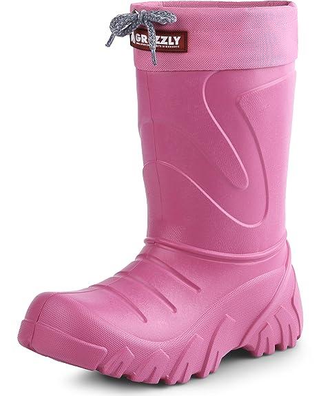 Lemigo Botas de Agua Antideslizantes Zapatos de Seguridad Unisex Niños Grizzly 835 (Rosa, 26