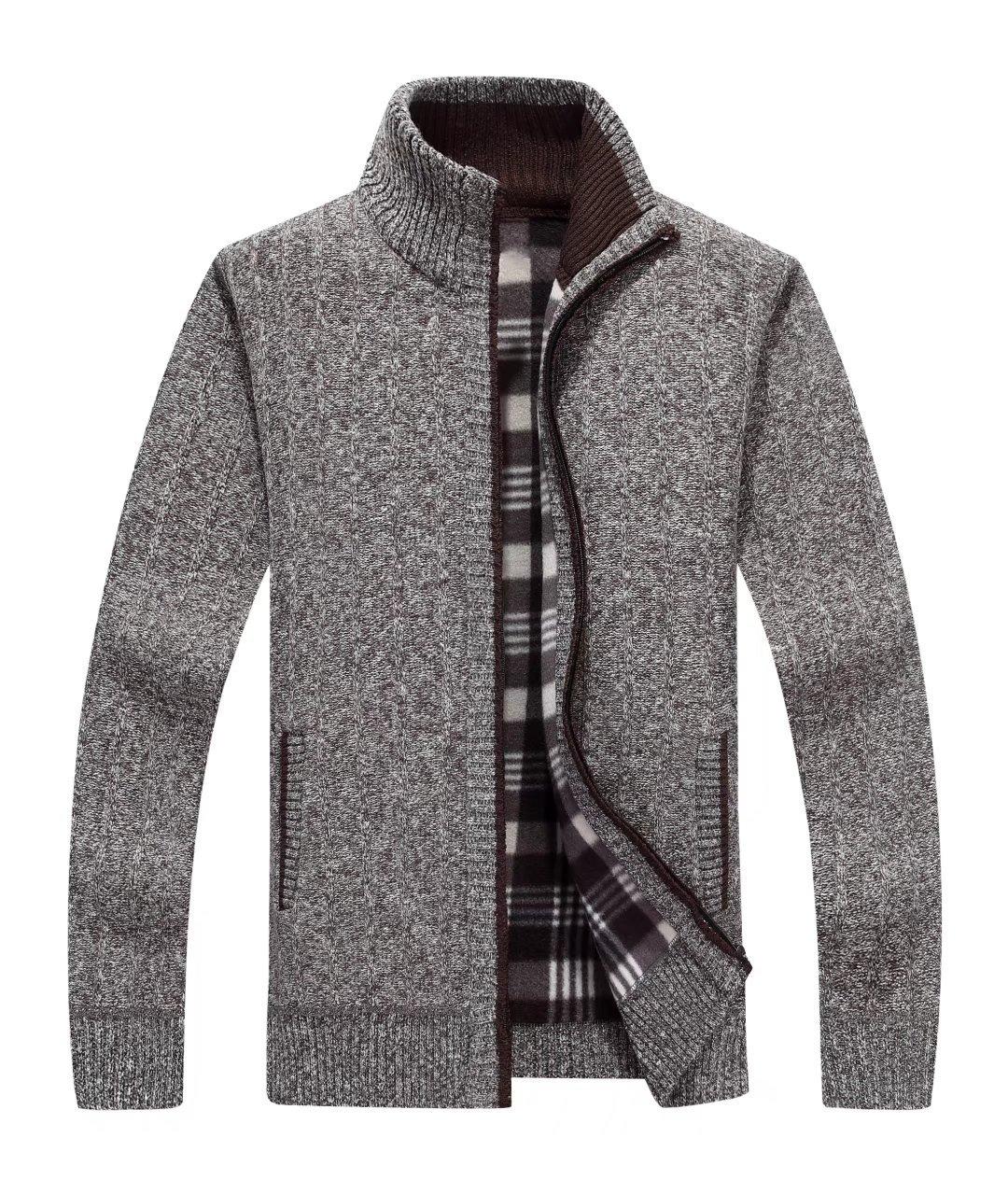 Msmsse Men's Zip Knitted Cardigan Sweater Coffee L