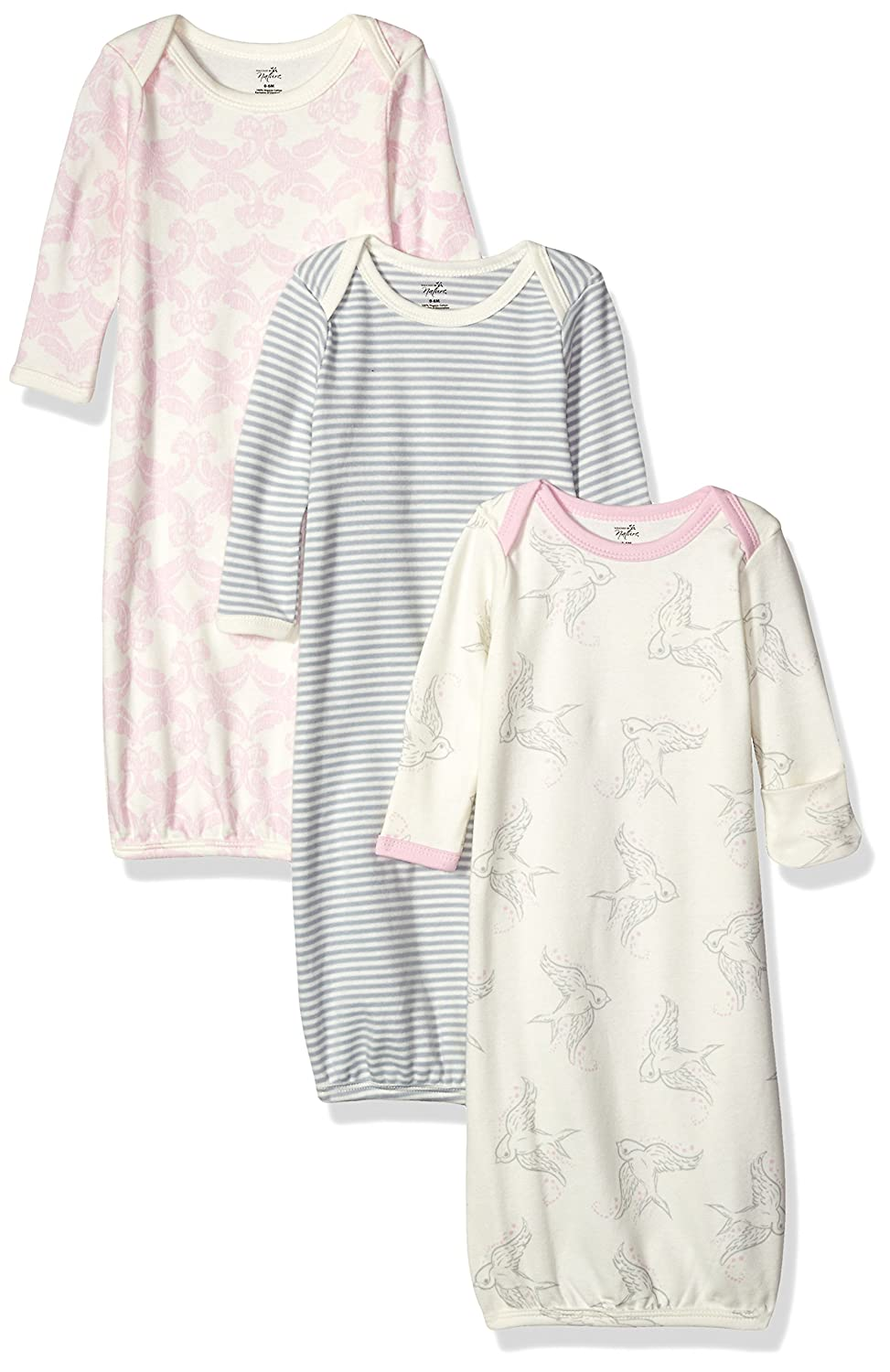 Amazon.com: Touched by Nature Baby 3-Pack Organic Cotton Gown, Bird ...