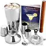 Manhattan Juego de cóctel | coctelera Set y Home Kit para hacer cócteles con libro de recetas, 750ml coctelera, colador, mortero, cuchara, 25ml y 50ml dedal bar Medidas