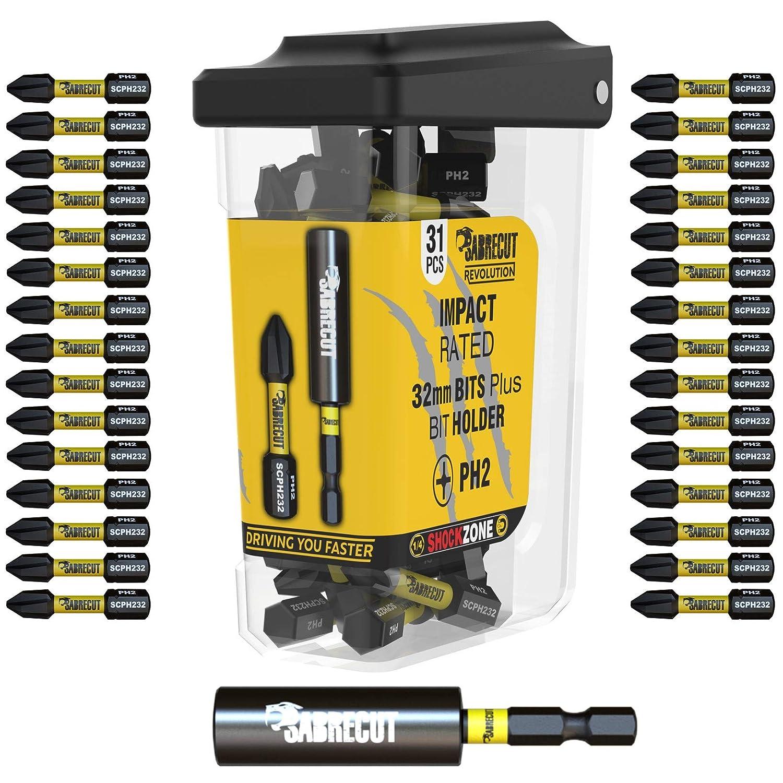 SabreCut SCRPH23231B - Juego de 31 puntas de destornillador de impacto magnéticas (32 mm, PH2 y 60 mm, punta Phillips, resistentes, para Dewalt ...