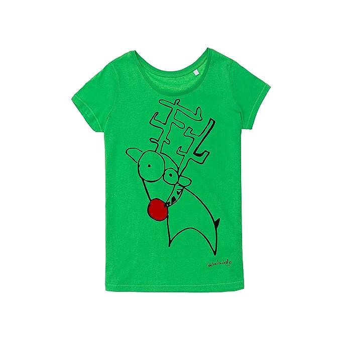 BICHOBICHEJO Camiseta Ecológica Mujer Rudolf, Verde, S: Amazon.es: Ropa y accesorios