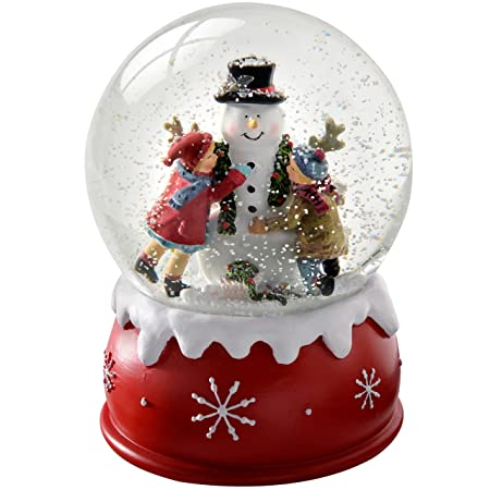 Werchristmas Children And Snowman Snow Globe Christmas Decoration 14 Cm Multi Colour